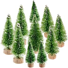 Ioffersuper 10Pcs Mini Sisal Trees with Wood Base Artificial Christmas Pine Trees Ornaments for Winter Snow Miniature Scen...