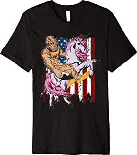 Sasquatch Bigfoot Riding Unicorn Vintage American Flag Shirt