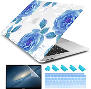 """Dongke for New MacBook Air 13 Inch Case 2018 2019 Release A1932, Frosted Rubberized Matte Hard Shell Cover for MacBook Air 13"""" with Retina Display & Touch ID (Blue Rose)"""