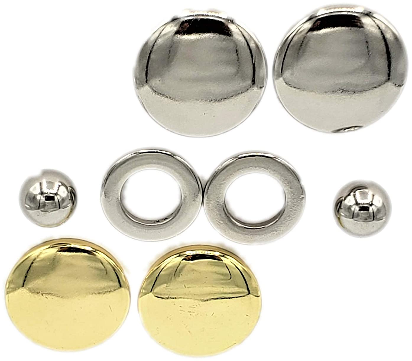 Maggies 8 Piece kit of Patented Fastening Parts Allows Unlimited Options for Every Fabric Fastening Need. It Contains 2 Magnet Spheres, 2 Custom Steel Rings, 2 Gold and 2 Silver Magnet Protectors.
