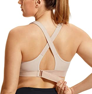 SYROKAN Women's Front Adjustable Wirefree High Impact Full Support Sports Bra