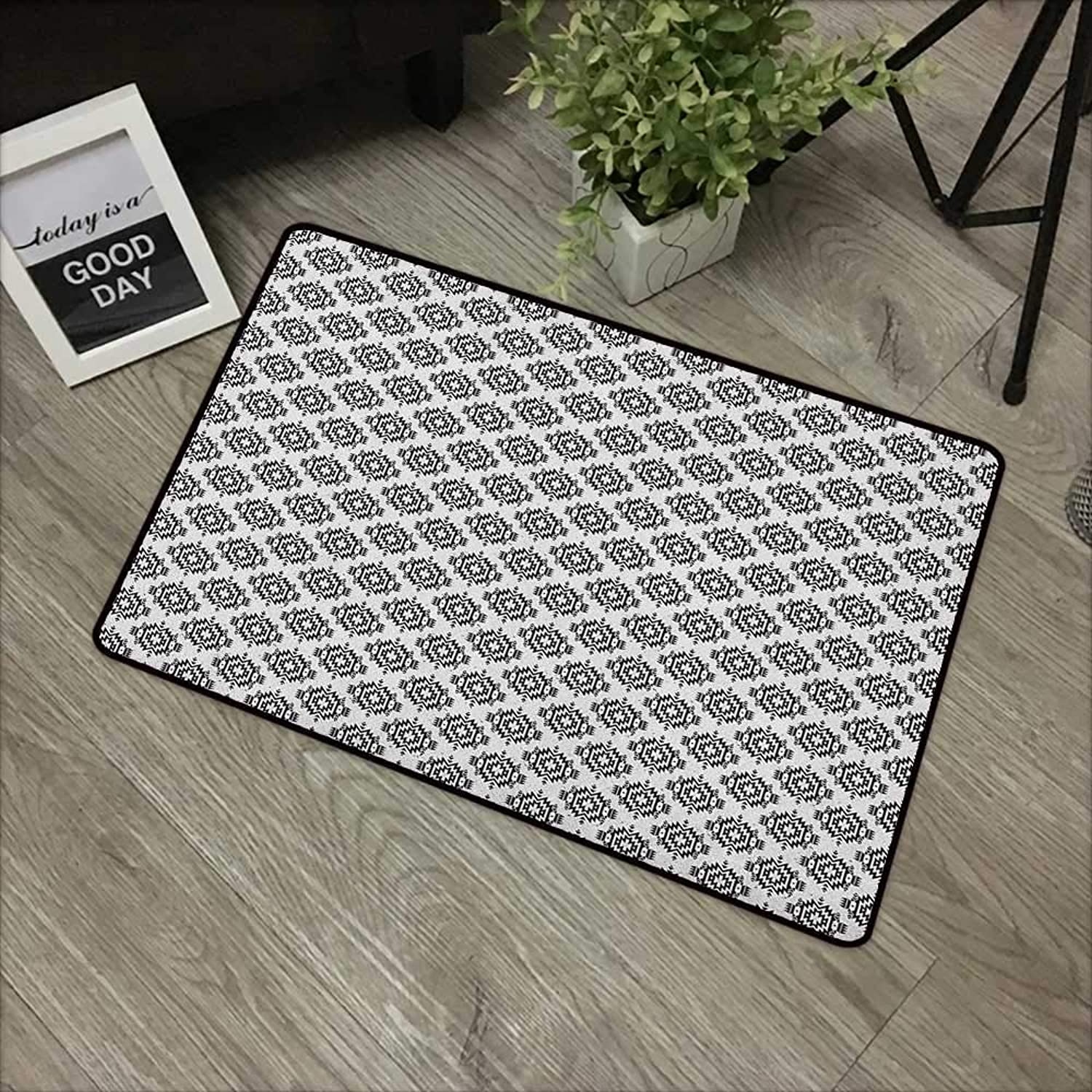 Interior mat W35 x L59 INCH Native American,Grunge Monochrome Motifs with Ancient Cultural Origins Indigenous Abstract, Black White Non-Slip, with Non-Slip Backing,Non-Slip Door Mat Carpet