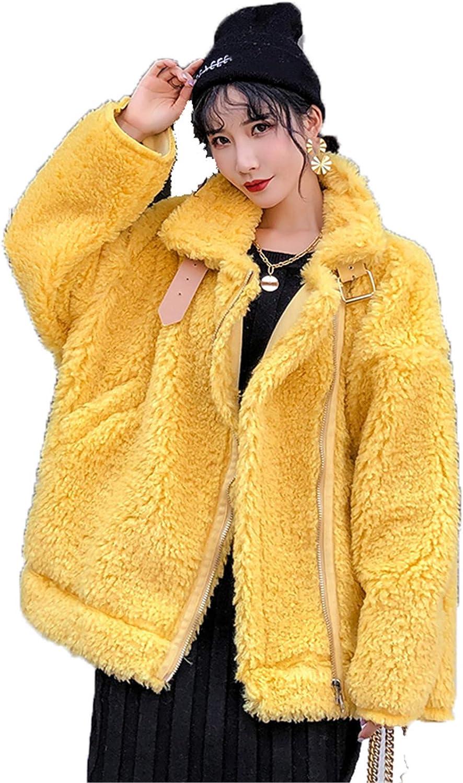 Women Teddy Fleece Furry Open Front Short Coat Jacket, Faux Fur Moto Warm Winter Fuzzy Outwear,Yellow,S