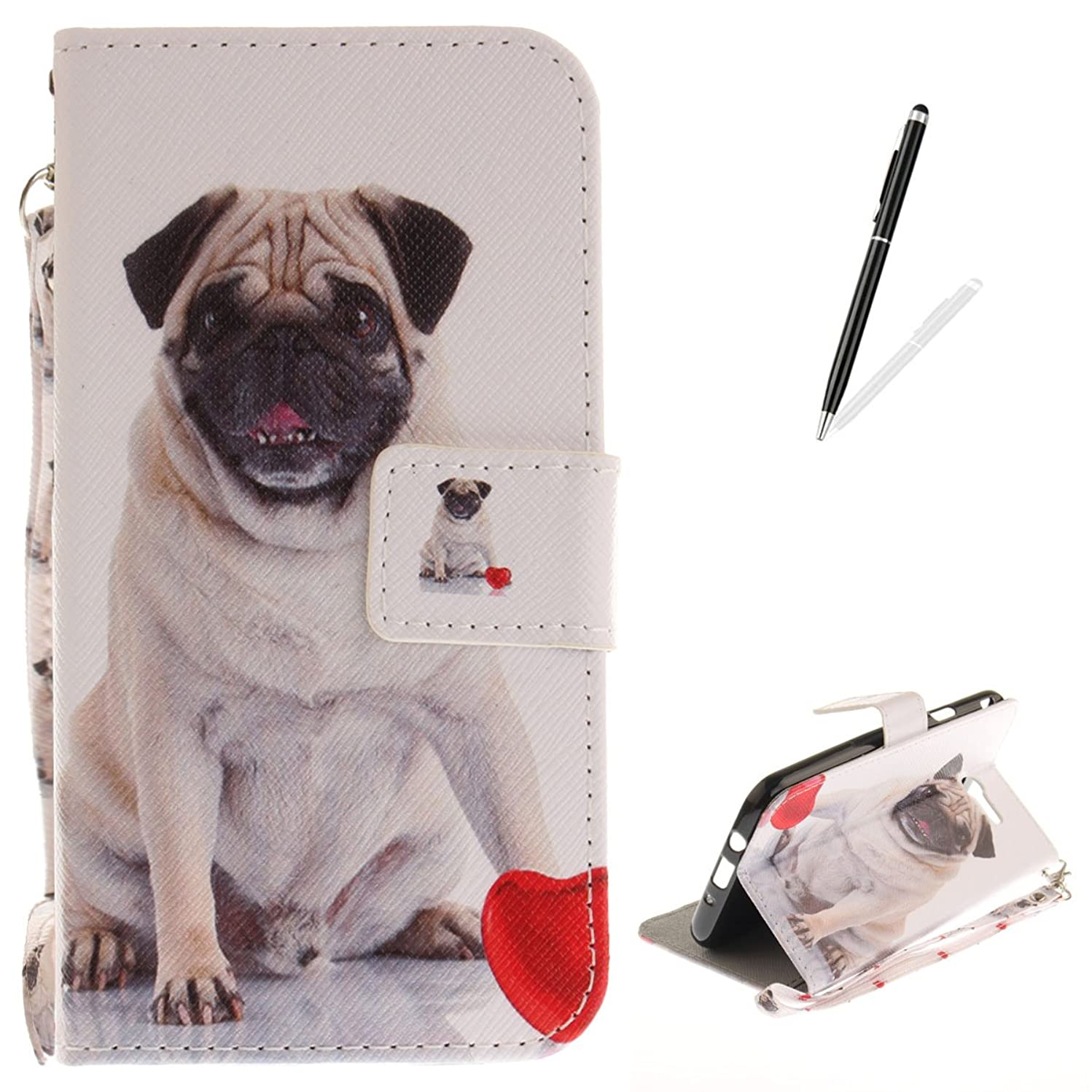 Samsung Galaxy J7(2017) Flip Magnetic Leather Case [Free 2 in 1 Stylus Pen] KaseHom Cute Pug Dog Love Painted Design Folio Wallet Case with [Card Slot] [Hand Strap] Slim Protective Cover