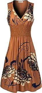 Women's Deep V Neck Princess Seamed Elegant Flared Midi Flower Print Dress