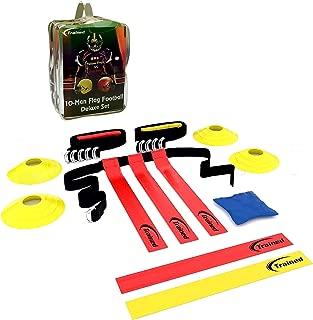 Trained Flag Football Set, 10 Man Set,Premium Football Gear, Massive 46 Piece Set, Flags, Belts, Cones, More, Bonus: Stylish Carry Bag & Flag