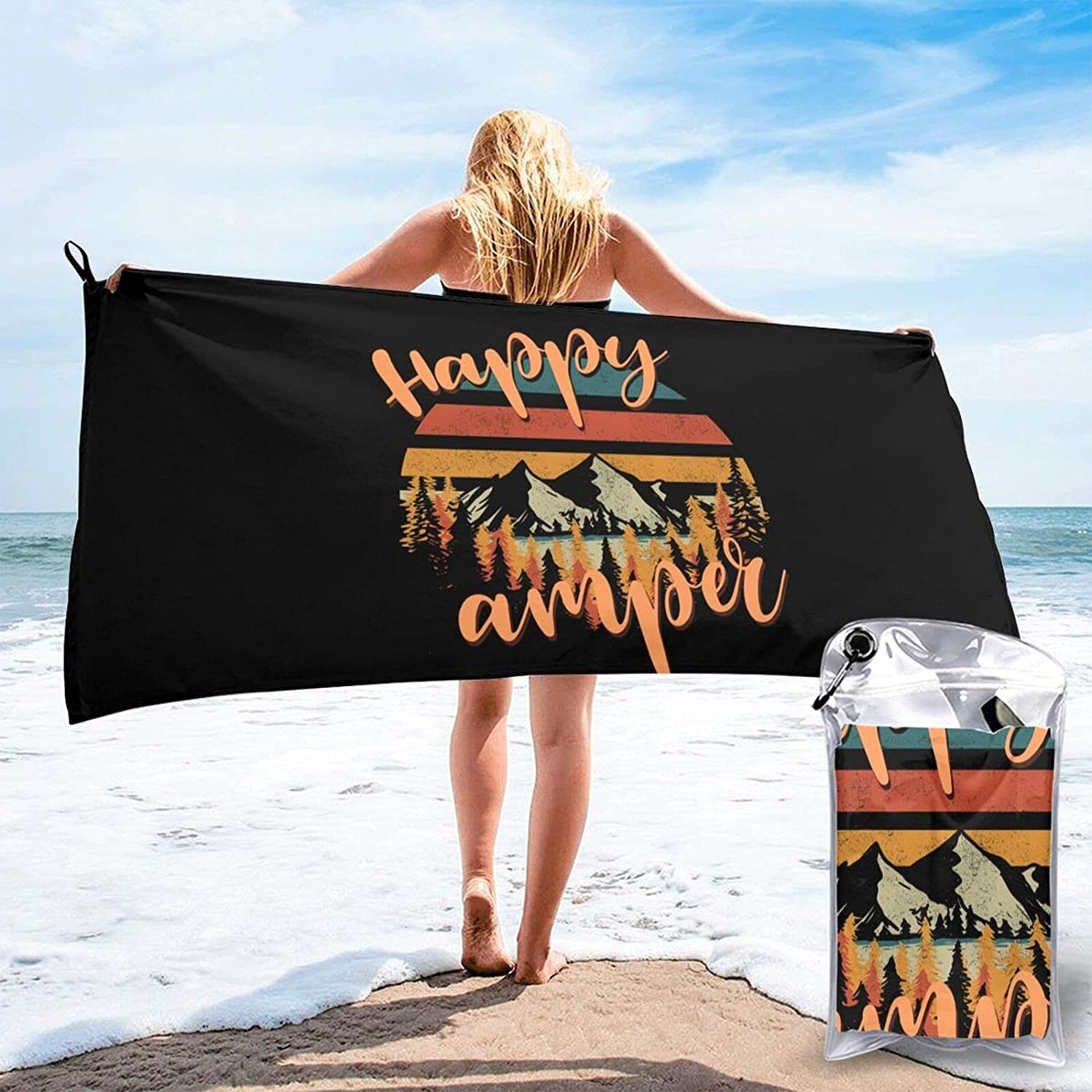 Happy Camper Bath Shipping included Towel Graphic Novelty Quick-Drying Multi-Inch 25% OFF