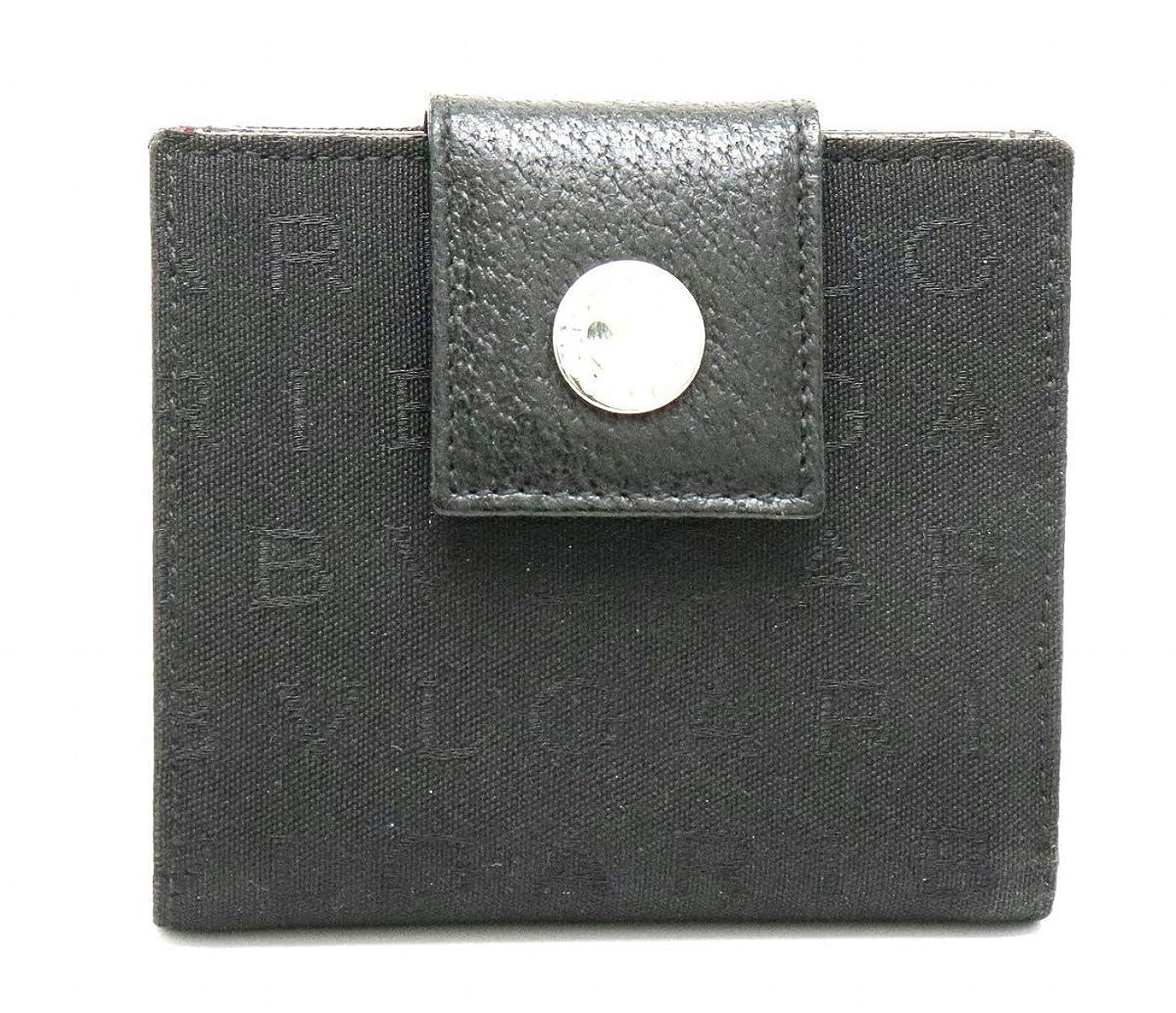 鉛筆電卓小屋[ブルガリ] BVLGARI レッタレ ロゴマニア Wホック ダブルホック 2つ折財布 キャンバス レザー 黒 ブラック 赤 レッド シルバー金具 22250 [中古]