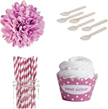 Dress My Cupcake DMC98190 Personalized Dessert Table Party Kit, Polka Dot, Sweet 16