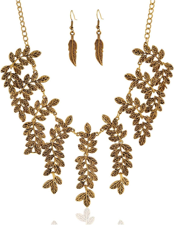 Ranking TOP17 ZCPCS European and American Fashion Necklace Leaves Surprise price Retro Ri Ear
