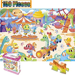 100 Pieces Jigsaw Puzzles Puzzles Artwork Dinosaur Carnival Animal World Art for Teen Adult Grown Up Jigsaw Puzzle Toy Educational Games Gift 100 PCS Home Decor Jigsaw Puzzle Toys Games (Dinosaur)