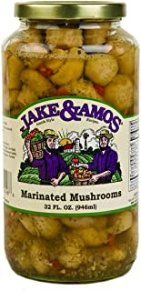 Jake & Amos Marinated Mushrooms, 32 Oz. Jar (Pack of 2)