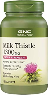 GNC Herbal Plus Milk Thistle 1300mg, 120 Caplets, Supports Healthy Liver Function