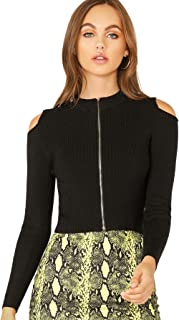 Verdusa Women's Cold Shoulder Zip Up Long Sleeve Rib-Knit Tee Top