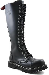 Angry Itch Bottes Rangers Militaires Unisex Homme Femme Cuir Noir 20 Trous Army Punk Capuchon d'acier