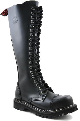 Angry Itch Bottes Rangers Militaires Unisex Homme Femme Femme Cuir Noir 20 Trous Army Punk Capuchon d'acier  vente discount