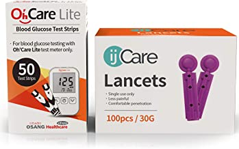 ijCare (50 Strips) Bundle n Save Pack for Oh'Care Lite Blood Sugar Testing Monitor – Glucose Test Strips and Lancets for for Blood Testing – Accurate and Affordable Diabetic Supplies
