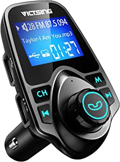 "VicTsing Bluetooth FM Transmitter for Car, Wireless Bluetooth Radio Transmitter Adapter with Hand-Free Calling and 1.44"" LCD Display, Music Player Support TF Card USB Flash Drive AUX-Black"