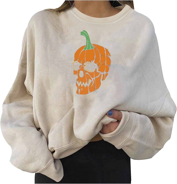 2021 Halloween Fashion Pullover for Women's Tops Casual Long Sleeve Cartoon Pumpkin Printed Sweatshirts Blouse