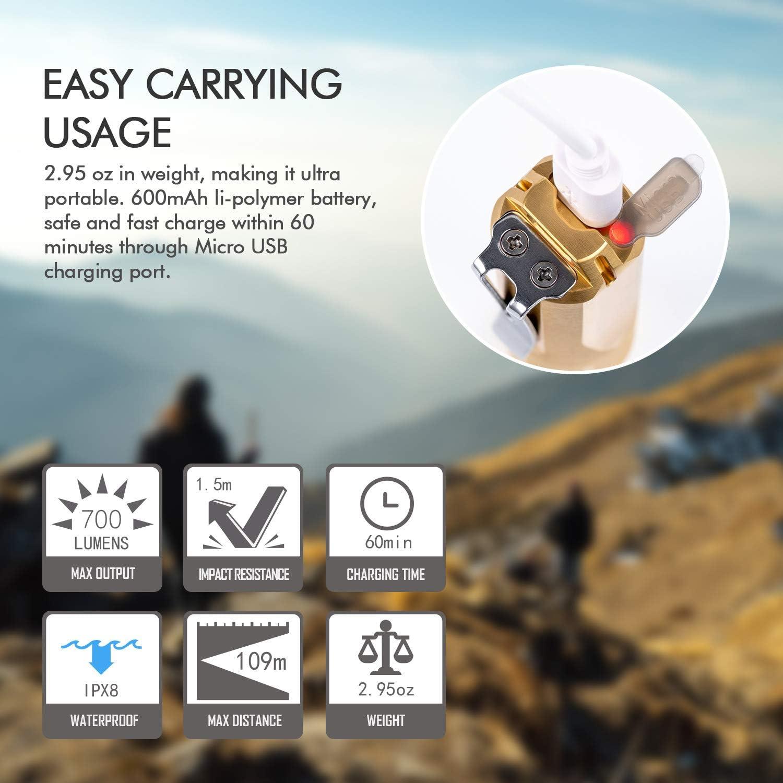 RovyVon Aurora A29 Brass EDC Flashlight Cree XP-G3 LED Flashlight Rechargeable Keychain Light with Moonlight//Memory Mode,IP68 Water Resistent 1000 Lumens