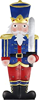 Exhart Nutcracker Statue – Toy Soldier Marquee Statue with Automatic LED Timer – Lights Up Hand Painted Indoor Outdoor Statue & Christmas Lights for Garden & Holiday Decor (10 L x 9.5 W x 30.5 H)