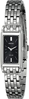 Women's SUP043 Stainless Steel and Black Dial Baguette Solar Watch