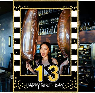 13th Birthday Selfie Photo Booth Frame Black and Gold Birthday Party Photo Props - Upgraded Version with Support Cardboard