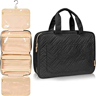 Fashionable Hanging Travel Toiletry Bag for Women and Men, Foldable Hygiene Bag, Bathroom, and Shower Organizer Kit with Elastic Band Holders for Toiletries, Cosmetics, Makeup, Brushes (Large)