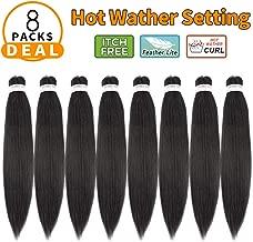 "Pre Stretched Braiding Hair 24""-8 Packs/Lot Professional Itch Free Hot Water Setting Synthetic Fiber Crochet Braids Braiding Yaki Texture Hair Extension Twist Braid(#1B)"