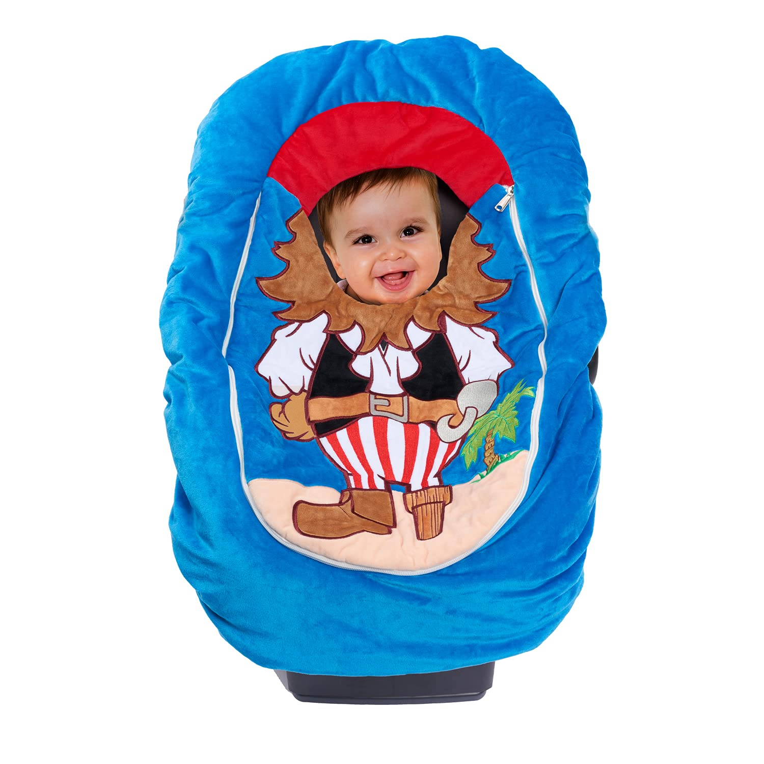 Car Seat Cuties, Baby Car Seat Cover, Stretchy Universal Fit Infant Car Seat CarrierCover for Baby Boys and Girls, Soft & Warm Baby Blanket StyleCar SeatCover, Infant Costume (Pirate)