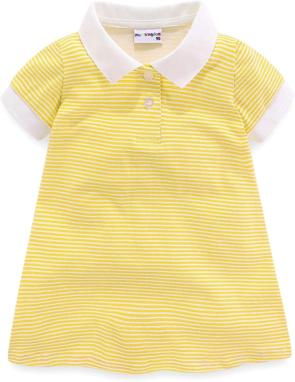LittleSpring Little Girls Luxury Stripe Sleeve Max 82% OFF Short Polo Dress