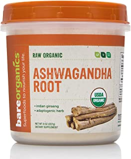 Bareorganics Ashwagandha Root Powder, raw organic, 8oz, 227g