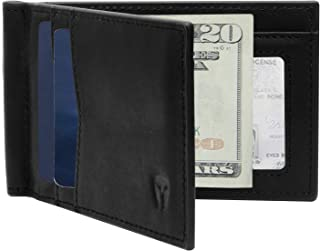 RFID Blocking Slim Minimalist Front Pocket Wallet, Money Clip, 9 Slots, Leather