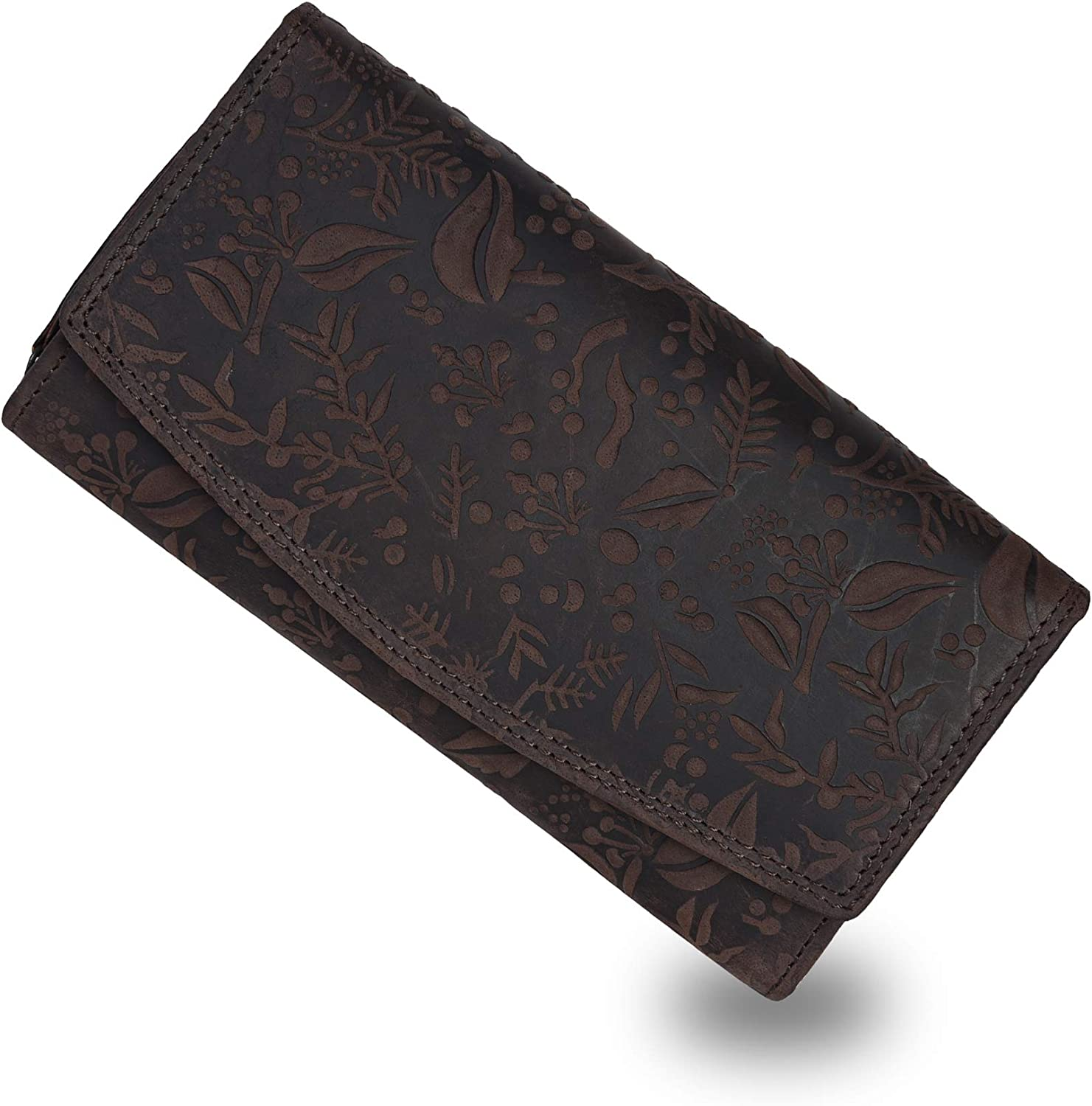 RFID Flower embossed Leather Wallet for Women-Multi Credit Card Slots,Mobile case Coin Purse with ID Window-by LEVOGUE (Brown Oily Hunter)