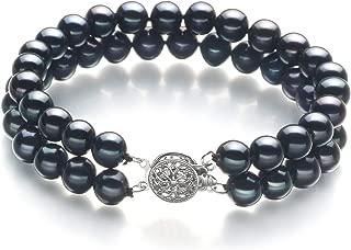 Henrike Black 6-7mm Double Strand AA Quality Freshwater Cultured Pearl Bracelet for Women