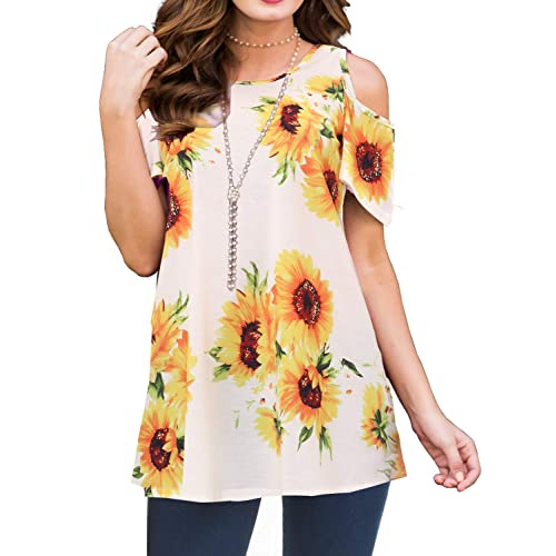a34eca291446b PrinStory Women s Short Sleeve Casual Cold Shoulder Tunic Tops Loose Blouse  Shirts