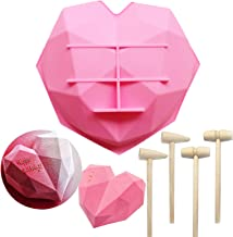 MUYULIN Diamond Heart Shaped Mousse Molds 8 INCHES, Perfect for Candy Chocolate Breakable Hearts for Baking Cake Mousse Gi...