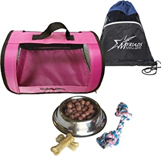 Perfect Petzzz Pink Tote for Plush Breathing Pets with Dog Food, Treats, Chew Toy and Myriads Drawstring Bag