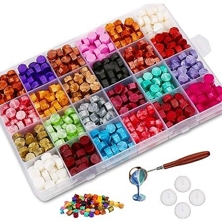 Jxunter 600 Pièces Perles de Cire à Cacheter avec 4 Bougies à Thé et 1 Cuillère à Fusion de Cire Pièce pour Timbre à Cacheter en Cire (24 Couleurs)