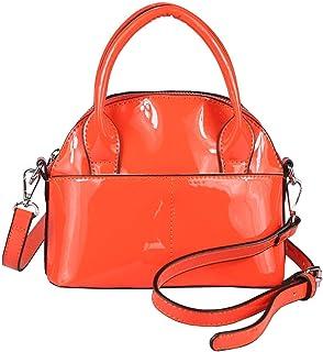Damen Mini Tasche Schultertasche Umhängetasche Crossbody Lack Leder Optik Abend Orange
