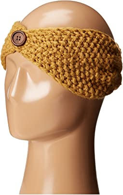 KNH3440 Cable Knit Headband with Wood Button