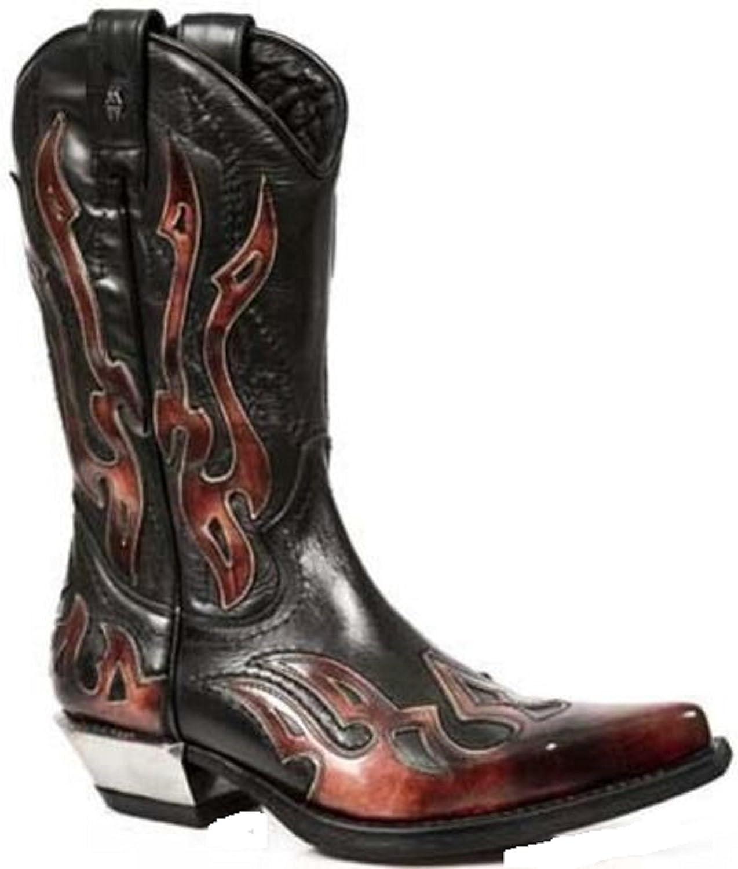 ny Rock röd Flame läder Cowboy stövlar 7921 7921 7921 -S2 Gothic, Goth, Punk, nyrock  40% rabatt