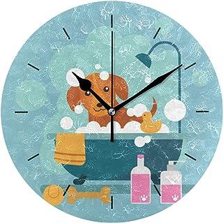 JIRT Reloj de Pared Perro Ducha Ronda 10 Pulgadas de diámetro Silencioso Decorativo para la Escuela de Oficina en casa