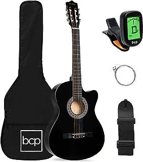 بهترین انتخاب محصولات مبتدی گیتار صوتی شروع کننده 38 اینچ / جعبه ، تمام طرح برش چوب ، بند ، انتخاب ، تنظیم کننده - سیاه