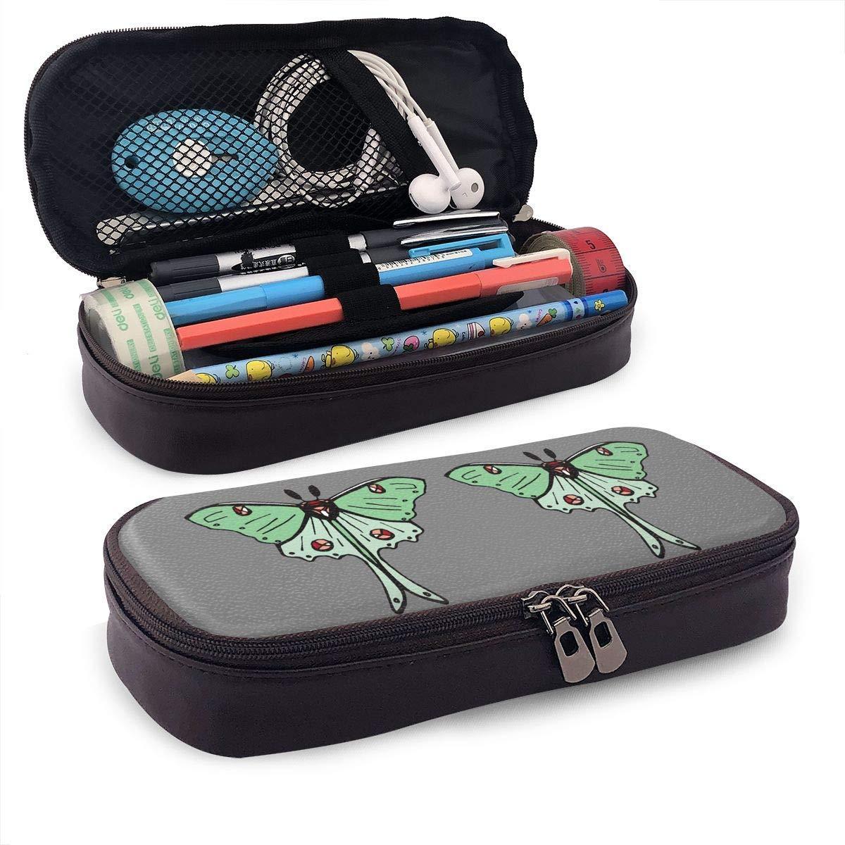 Polilla de Luna de piel caja de lápiz de la pluma de cremalleras bolsa de Escuela y Oficina: Amazon.es: Oficina y papelería