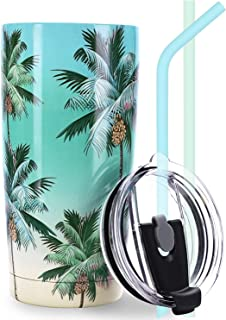 NymphFable 20oz Stainless Steel Tumbler with Lid and Straw,Palm Tree Insulated Travel Mug Double Wall