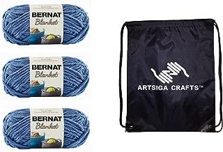 Bernat Knitting Yarn Blanket Country Blue 3-Skein Factory Pack (Same Dyelot) 161200-106 Bundle with 1 Artsiga Crafts Project Bag
