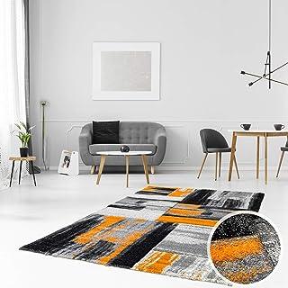 Alfombra diseño Moderno salón Swing Degradado Naranja Gris Negro, Orange Grau, 120 cm_x_170 cm