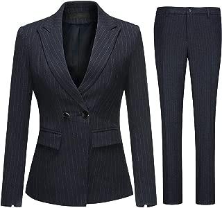 Women's 2 Piece Office Lady Stripes Business Suit Set Slim Fit Blazer Jacket Pant