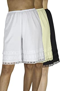 Underworks Cotton Knit Snip-A-Length Pettipants Culotte Slip Bloomers Split Skirt